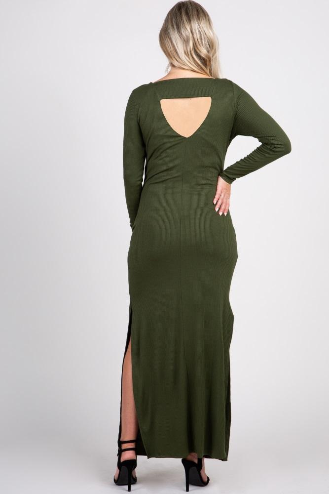 7d01ad0929 Olive Ribbed Long Sleeve Open Back Side Slit Maternity Maxi Dress