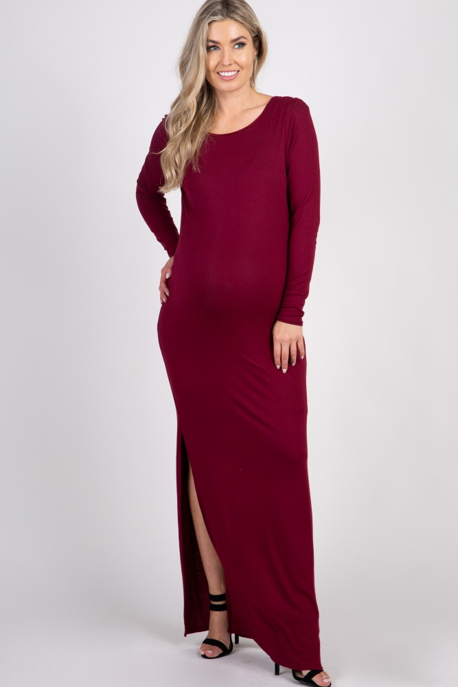 eade58942b Burgundy Ribbed Long Sleeve Open Back Side Slit Maternity Maxi Dress