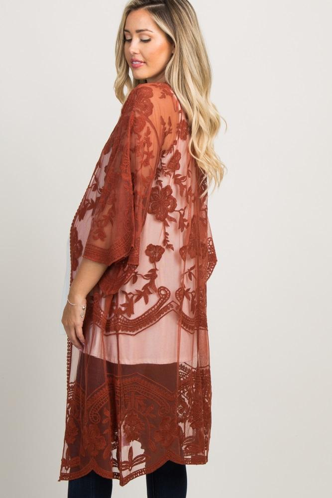 e2cc323a66399 Rust Lace Mesh Long Maternity Kimono