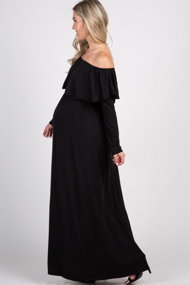 6949a133c17e Black Solid Off Shoulder Ruffle Maternity Maxi Dress
