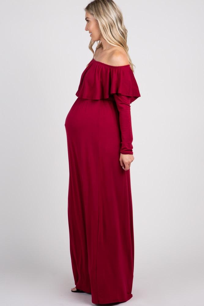 17940eaaf1c Burgundy Solid Off Shoulder Ruffle Maternity Maxi Dress