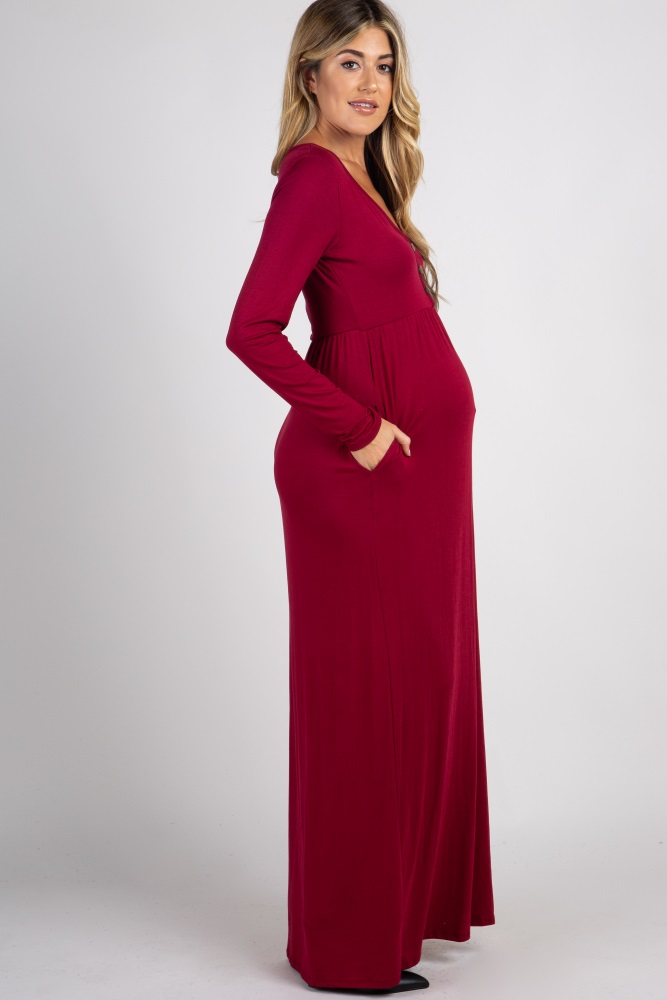 b05624bd6 Burgundy Solid Button Front Maternity Maxi Dress