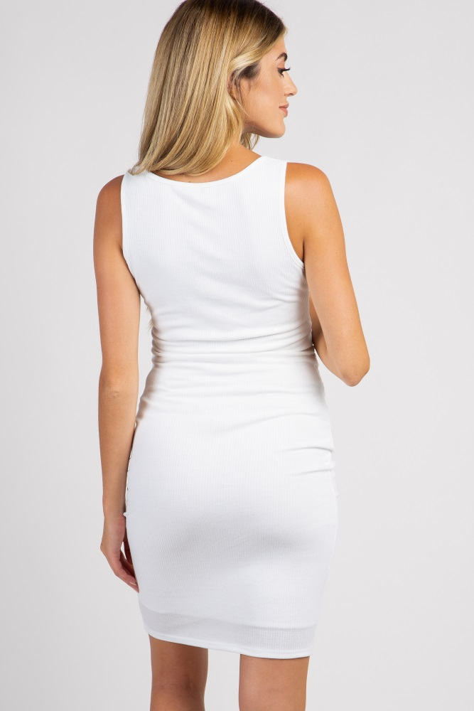 2eff52a0b0c Ivory Sleeveless Ribbed Fitted Maternity Dress