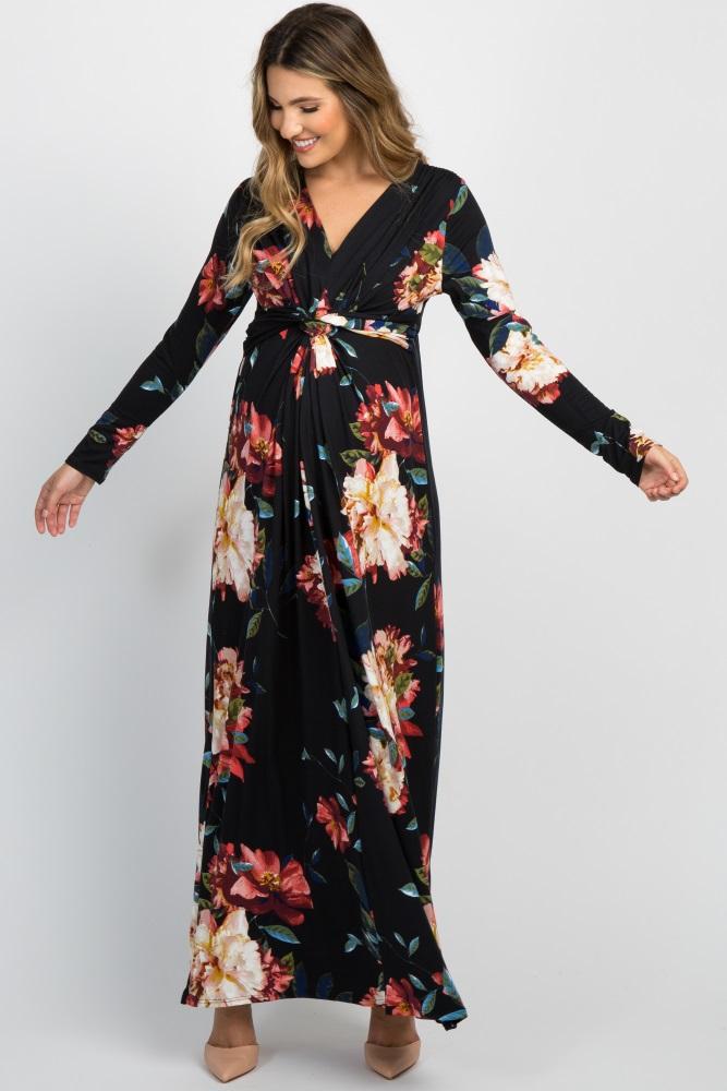 60116618f090 Black Floral Front Twist Long Sleeve Maternity Maxi Dress