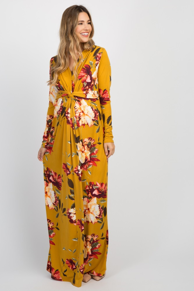 2770069684 Yellow Floral Front Twist Long Sleeve Maternity Maxi Dress