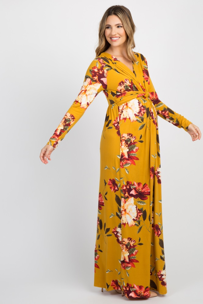 85127bb7a39 Yellow Floral Front Twist Long Sleeve Maternity Maxi Dress