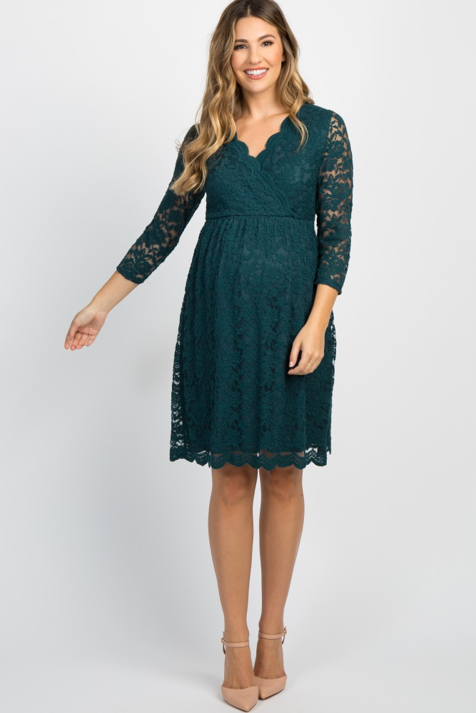 f8f3b5d96eeca Forest Green Lace Overlay Wrap Maternity Dress