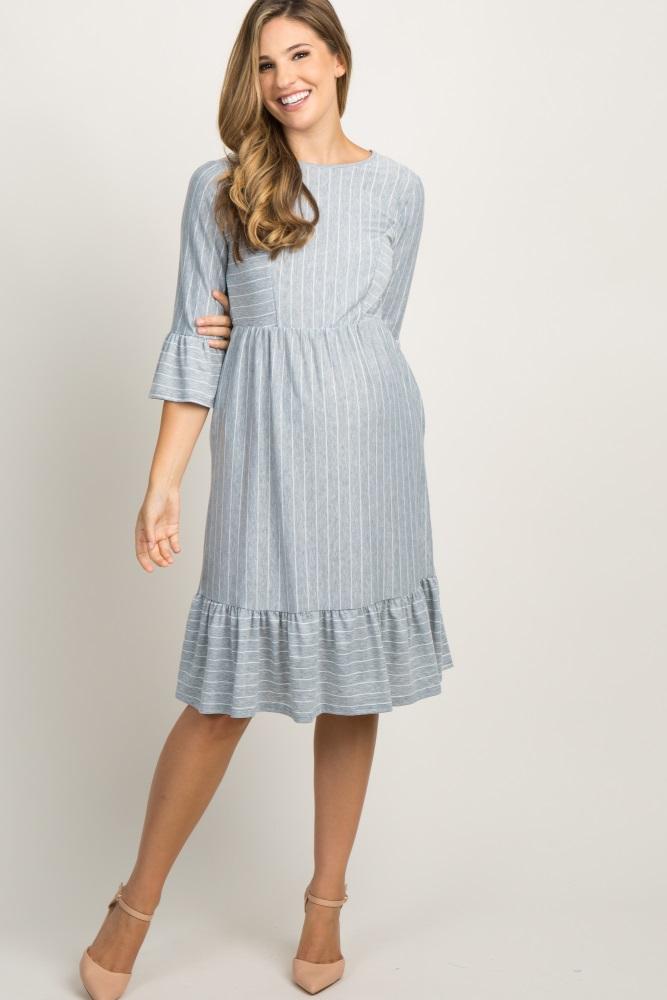 Gray Ruffle Trim Maternity Dress