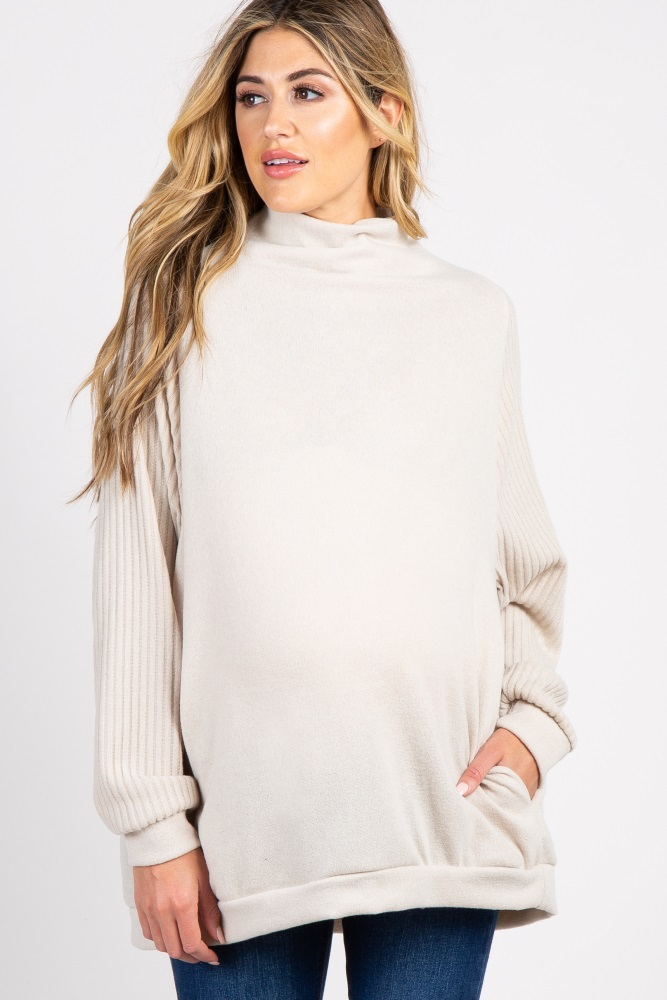 2d97d1ae76dce Beige Cowl Neck Dolman Sleeves Maternity Top