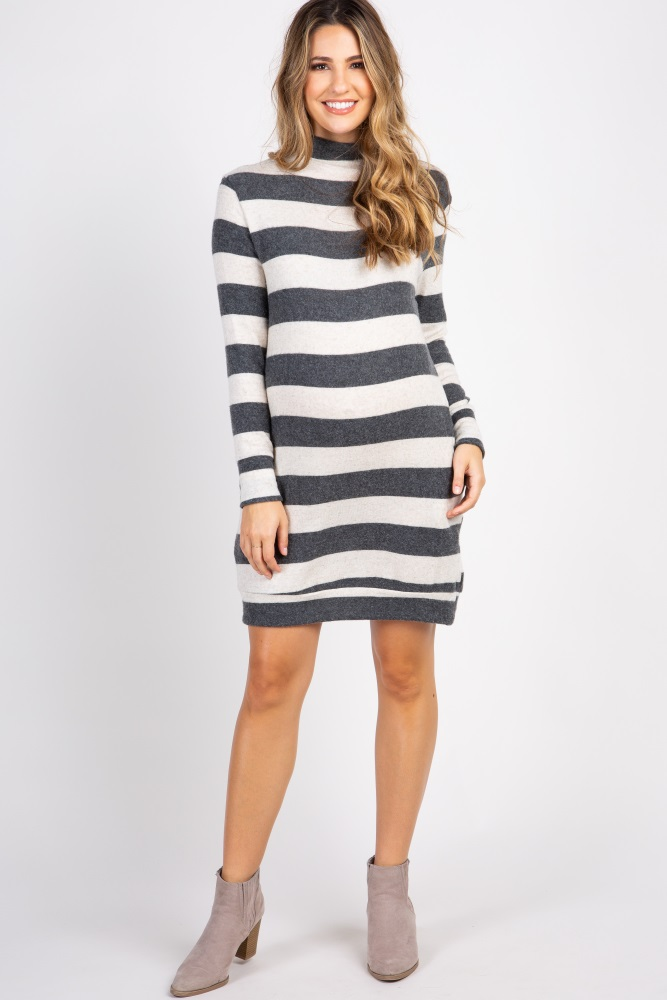 5f9aa6cfdc3f5 Charcoal Beige Striped Long Sleeve Knit Maternity Dress
