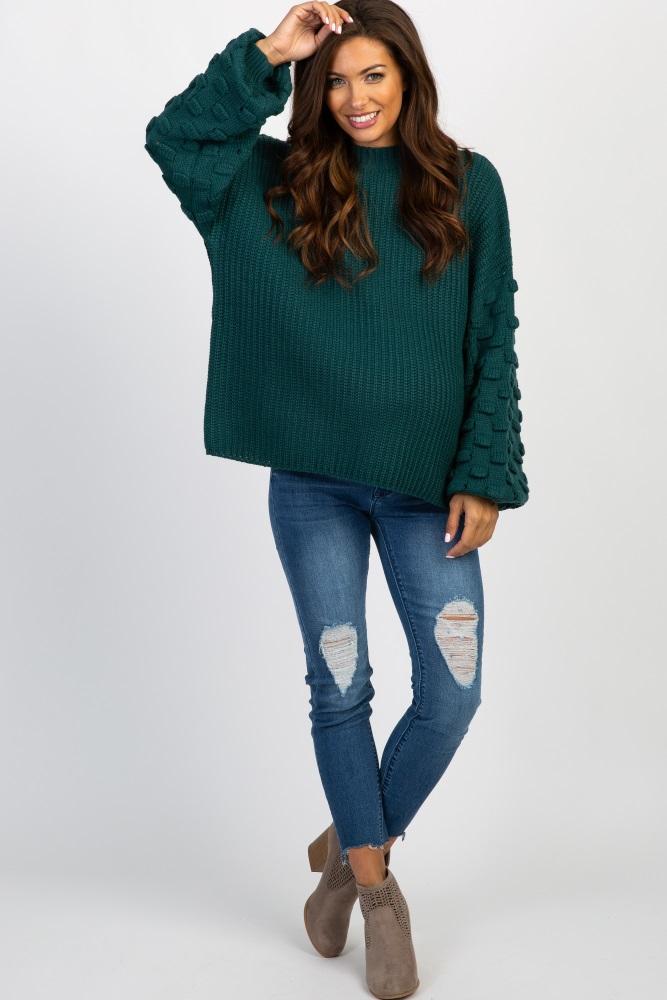 8ba74356a39cd Green Textured Puff Sleeve Knit Maternity Sweater