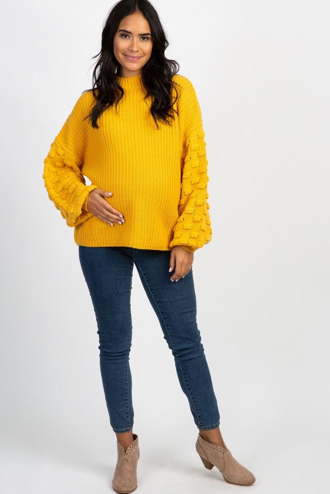 eefa847417a66 Mustard Textured Puff Sleeve Knit Maternity Sweater