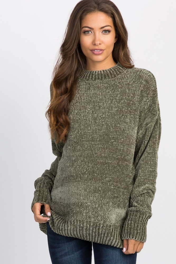 de5c6f7a3d832 Olive Ribbed Chenille Knit Maternity Sweater