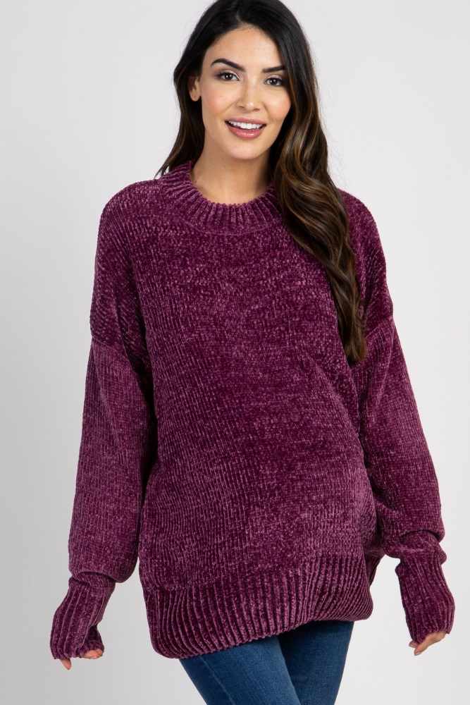 plum mock neck chenille knit maternity sweater