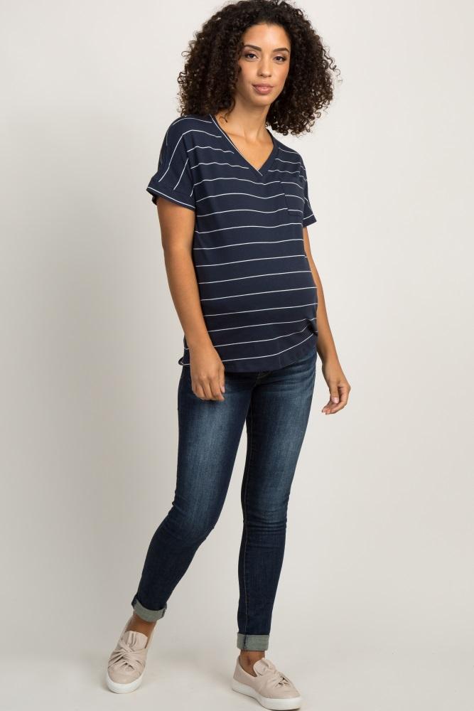 ff6c9cb9ed0c5 Navy Blue Striped Maternity Pocket Tee