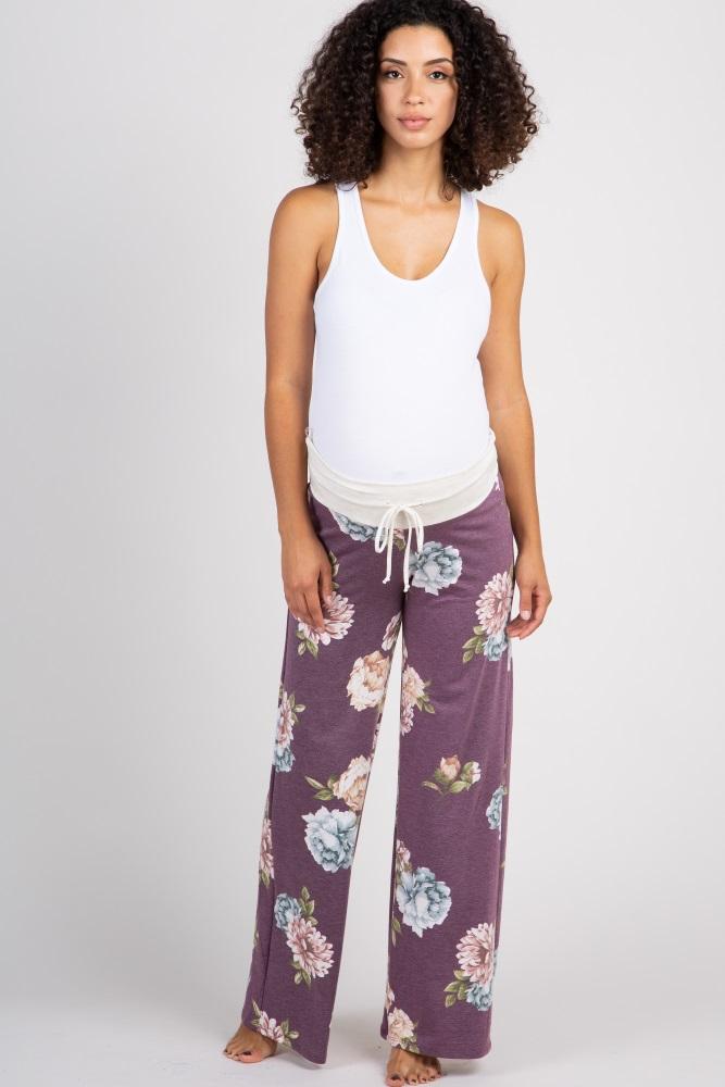 purple floral drawstring maternity lounge pants