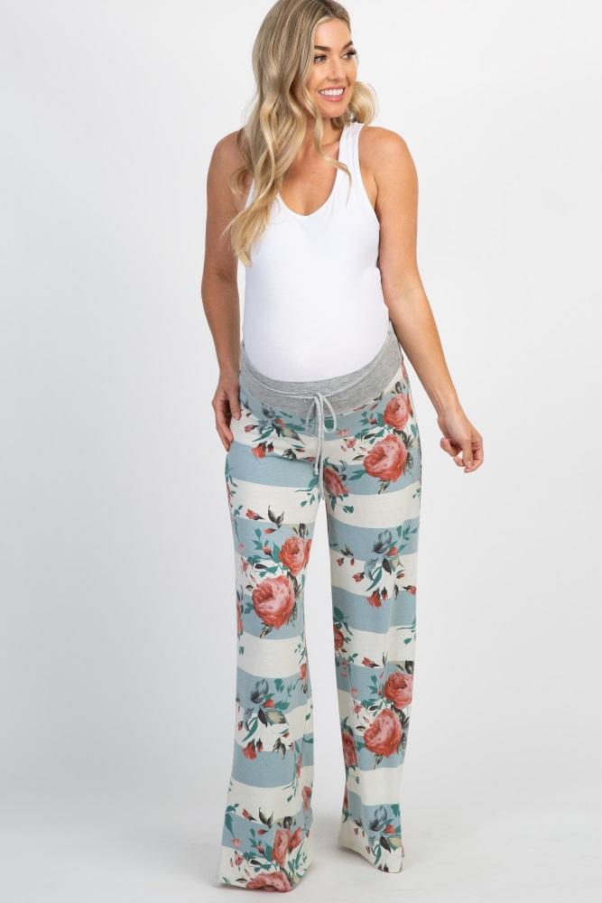 light blue floral colorblock drawstring maternity lounge pants