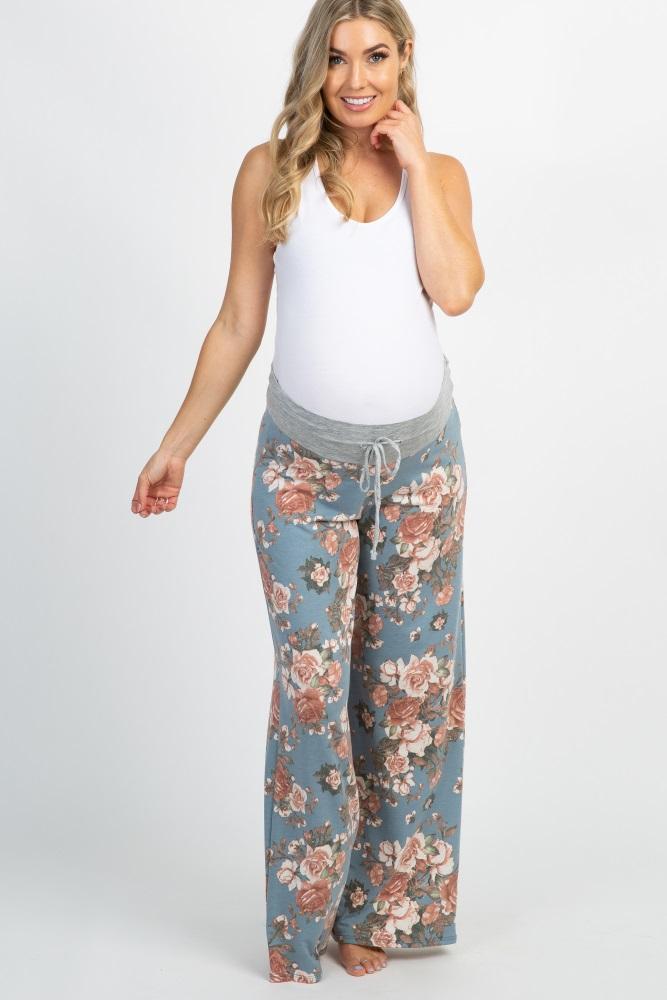 light blue floral drawstring maternity lounge pants