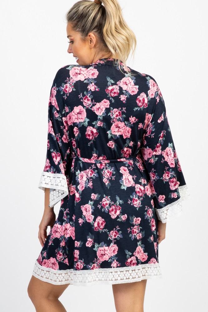 af51da0a94c83 Navy Blue Floral Lace Trim Delivery/Nursing Maternity Robe