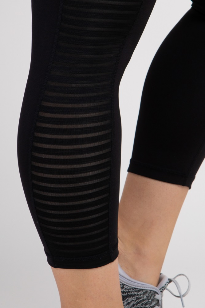fd6ad915e0091 Black Ladder Mesh Panel Cropped Active Plus Maternity Leggings