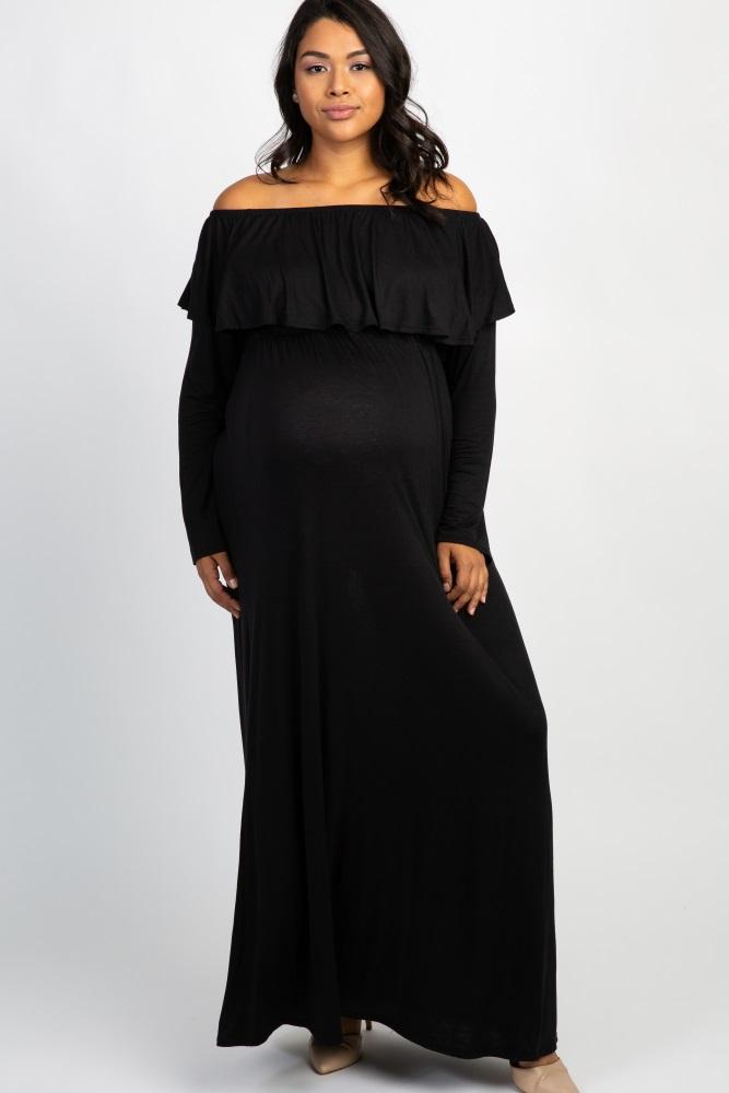0823ad507e7 Black Solid Off Shoulder Ruffle Maternity Plus Maxi Dress