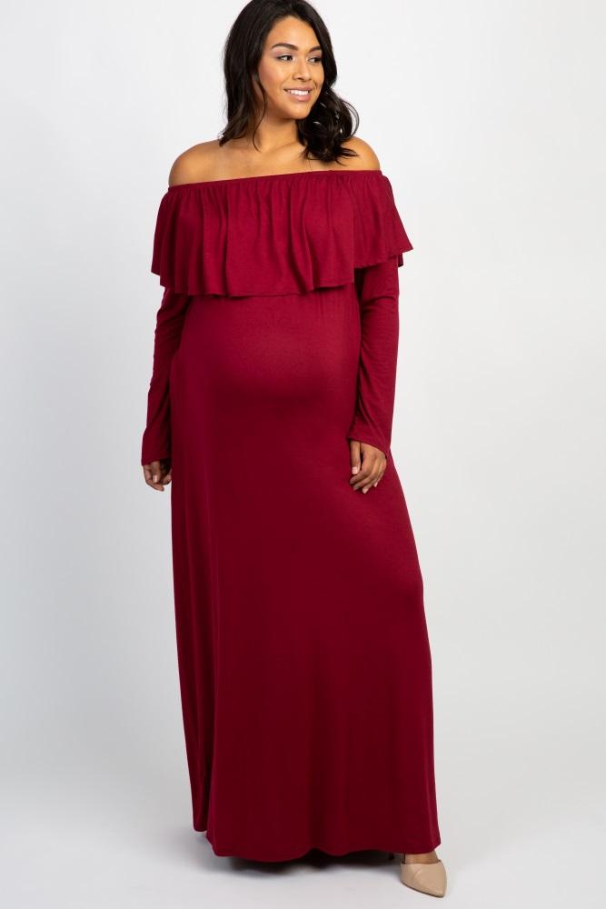 b9261b7f84 Burgundy Solid Off Shoulder Ruffle Plus Maternity Maxi Dress