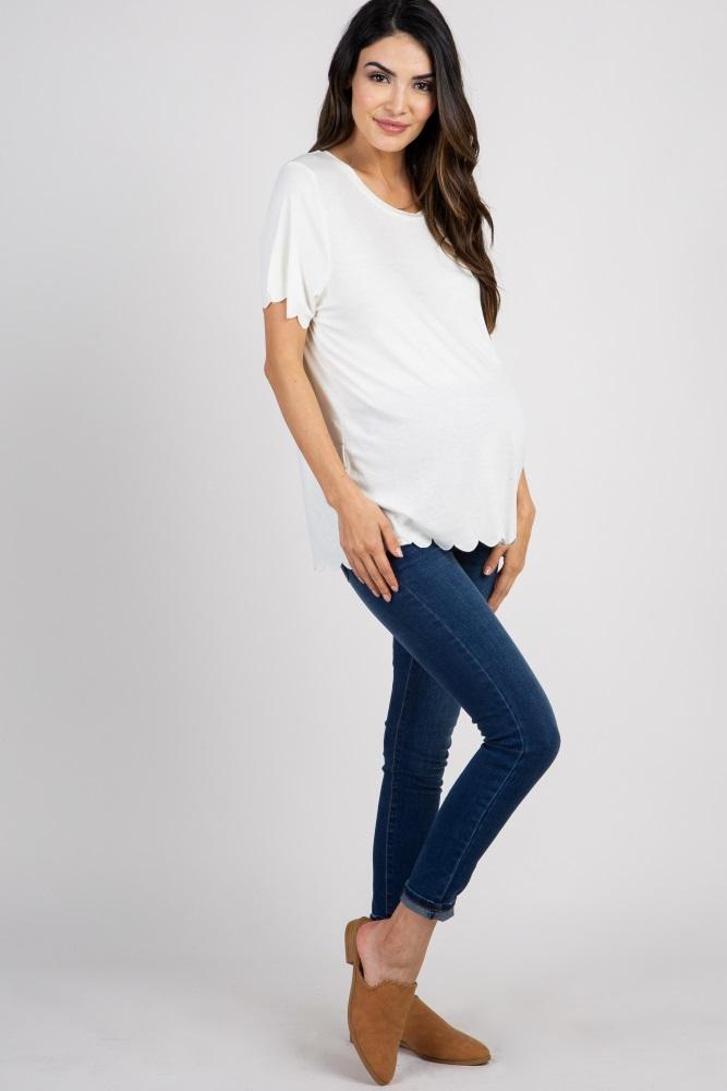 3a79c4c6278d1 Cream Solid Scalloped Hem Maternity Top