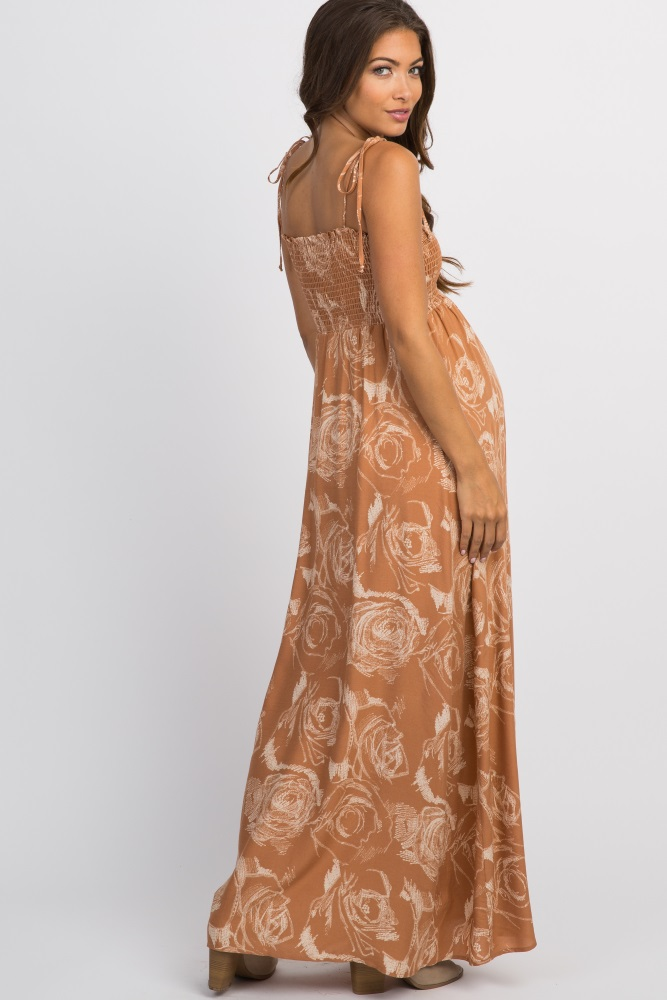 daf1e9f4d90 Rust Floral Smocked Top Tie Strap Maternity Maxi Dress