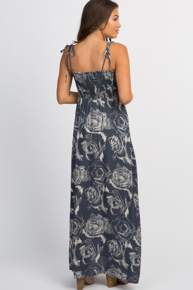 f00fce38423 Charcoal Floral Smocked Top Tie Strap Maternity Maxi Dress