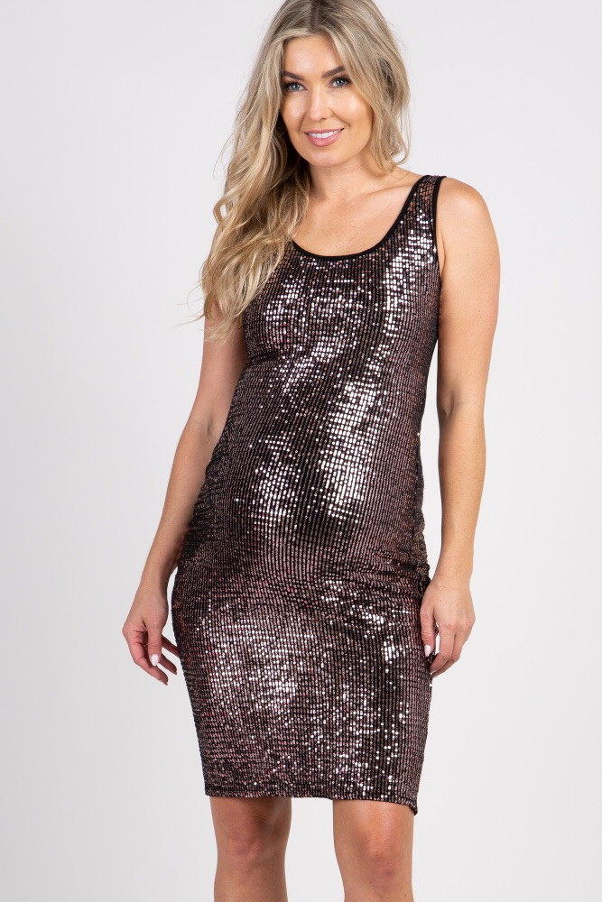 2dc3b296a4 Rose Gold Sleeveless Sequin Fitted Maternity Dress