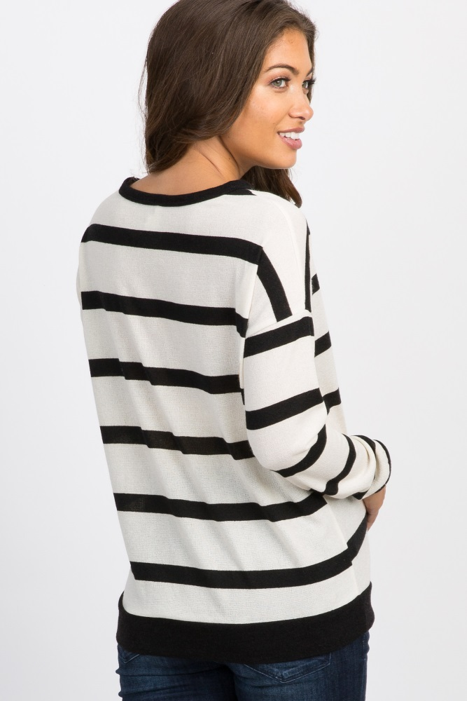 b953d9b056d7f Black White Striped Front Tie Maternity Top