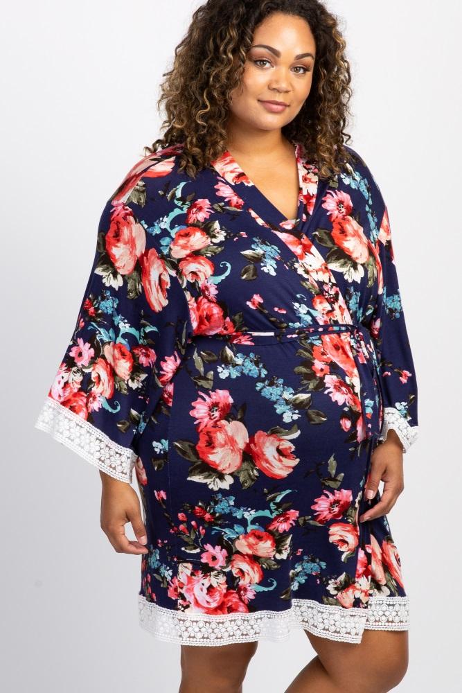 navy blue floral lace trim delivery/nursing maternity plus robe