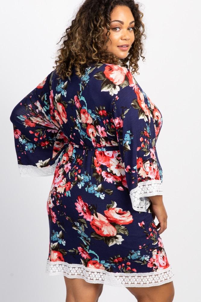 b061dd09ecb94 Navy Blue Floral Lace Trim Delivery/Nursing Maternity Plus Robe