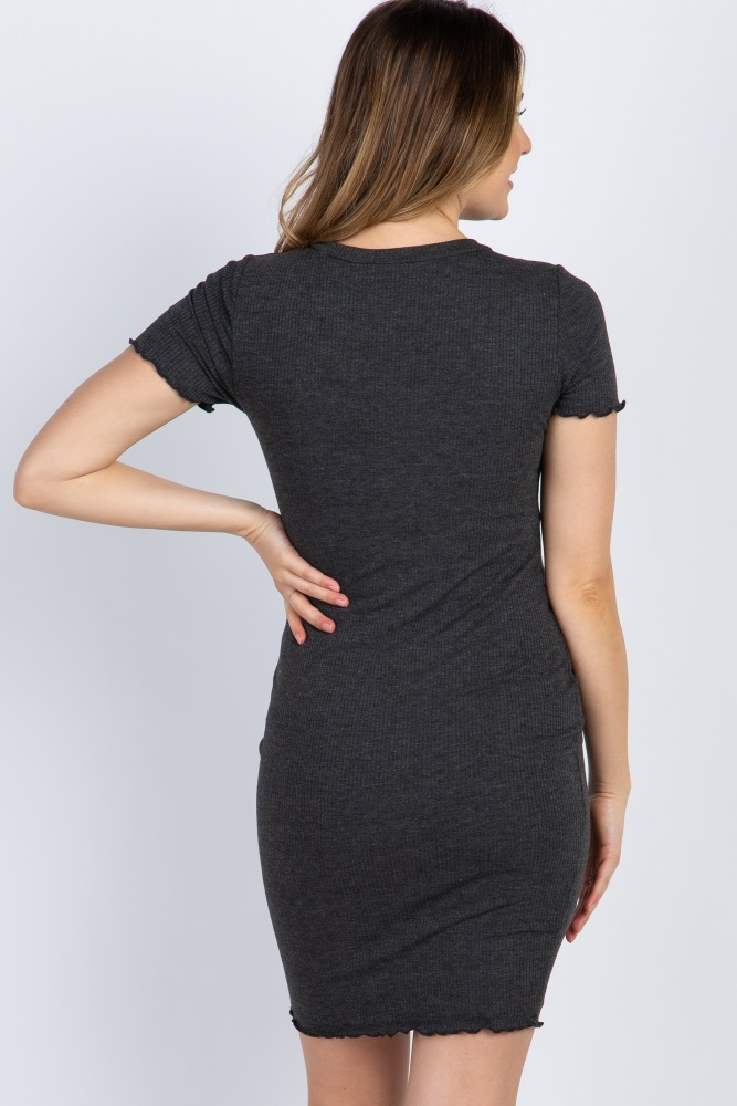 aa1b40c1b3121 Charcoal Ribbed Lettuce Edge Maternity Dress