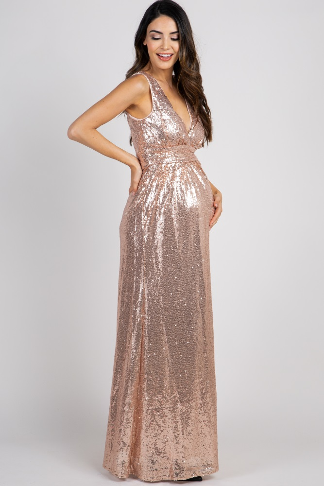 1e0633d72d51b Rose Gold Sequin Sleeveless Maternity Gown