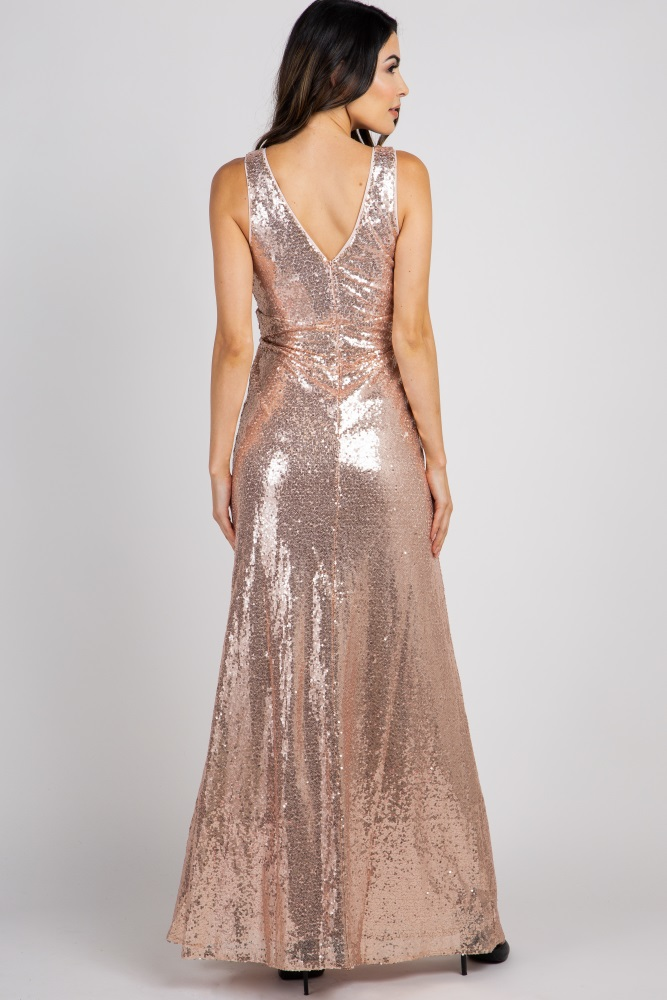 US 0,Gold Free People Womens Rose Gold Sequin Sleeveless Dress