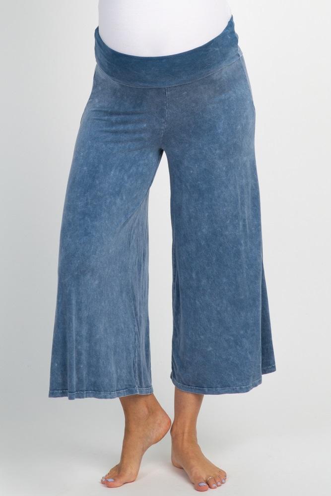 d3de5cfb4fe86 Blue Cropped Wide Leg Maternity Lounge Pants