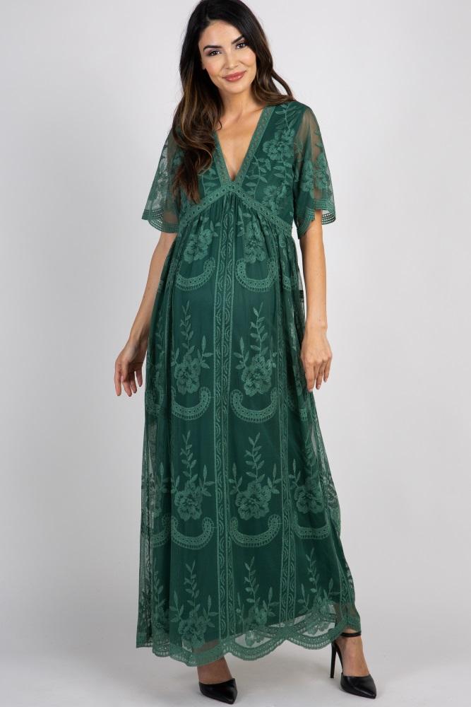 9013027e25864 Dark Teal Lace Mesh Overlay Maternity Maxi Dress
