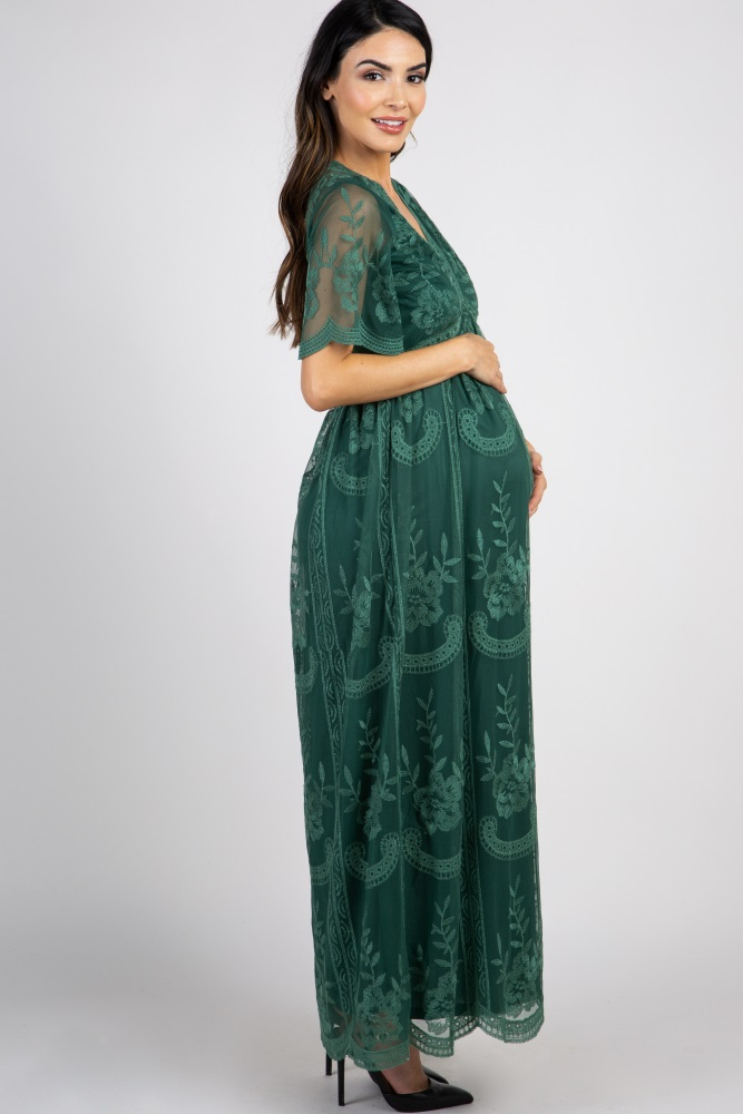 eb885013e0066 Dark Teal Lace Mesh Overlay Maternity Maxi Dress