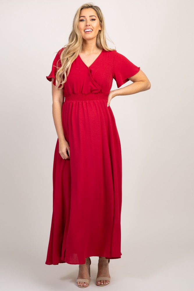 b87ac3d6e9 Red Smocked Wrap Slit Front Maternity Maxi Dress