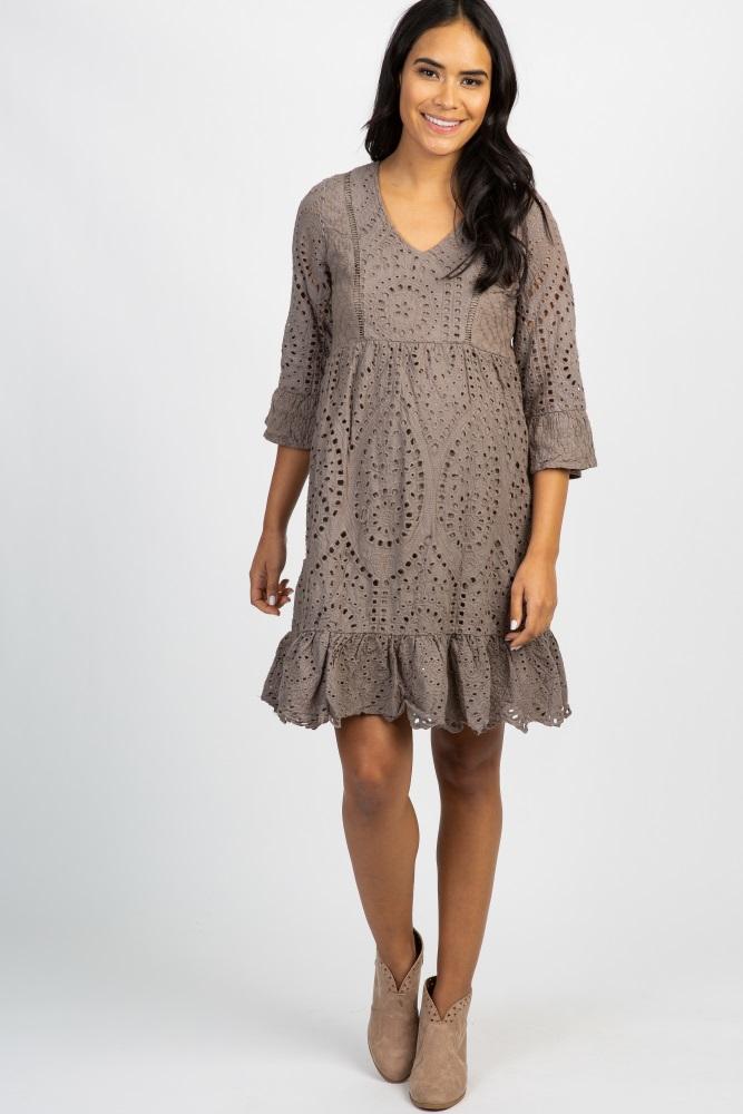 Olive Crochet Overlay Maternity Dress