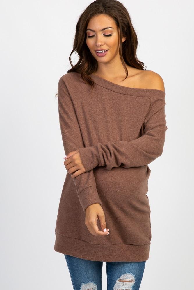 mocha basic maternity sweater