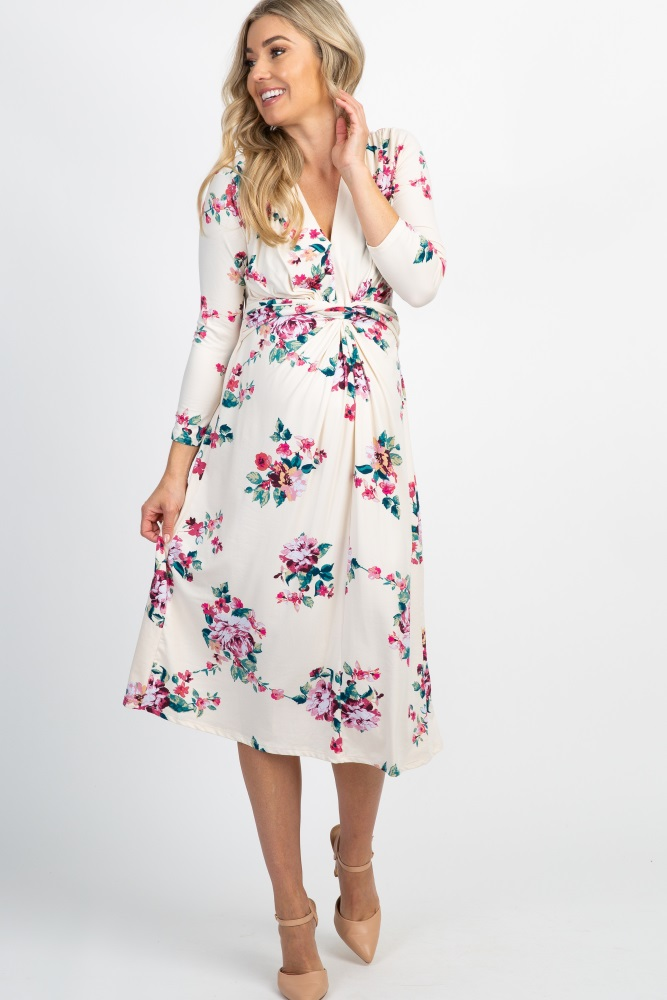 c74fda53e0952 Ivory Floral 3/4 Sleeve Knot Front Maternity Dress