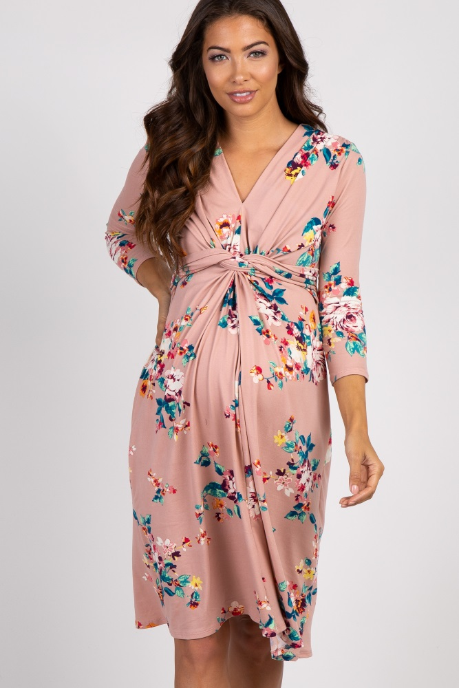 14755c4981d29 Mauve Floral 3/4 Sleeve Knot Front Maternity Dress