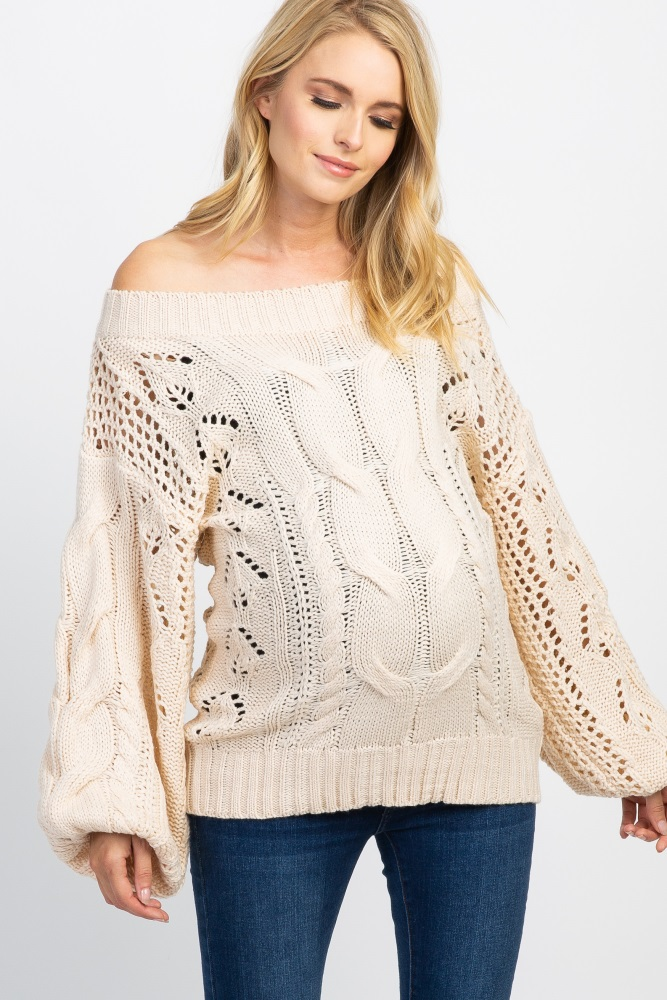7e58f5f22915c Beige Cable Knit Off The Shoulder Maternity Sweater