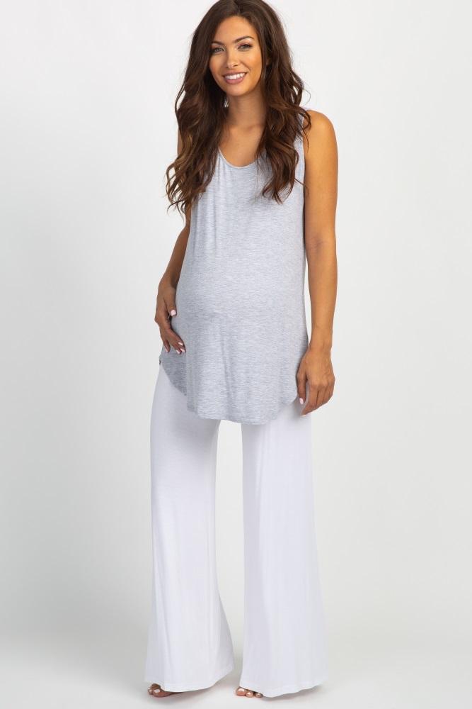 white foldover maternity lounge pants