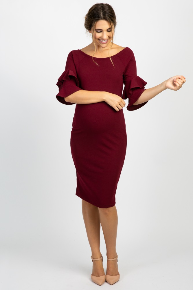 f2189db37b2 Burgundy Layered Flounce Sleeve Fitted Maternity Dress
