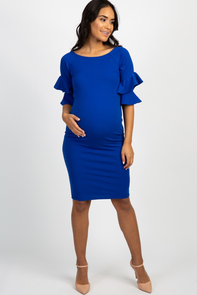 615fd44c2cd Royal Blue Layered Flounce Sleeve Fitted Maternity Dress