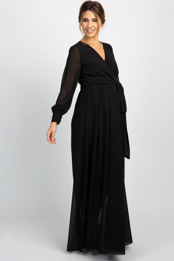 953d1830cb70 Black Chiffon Long Sleeve Pleated Maternity Maxi Dress