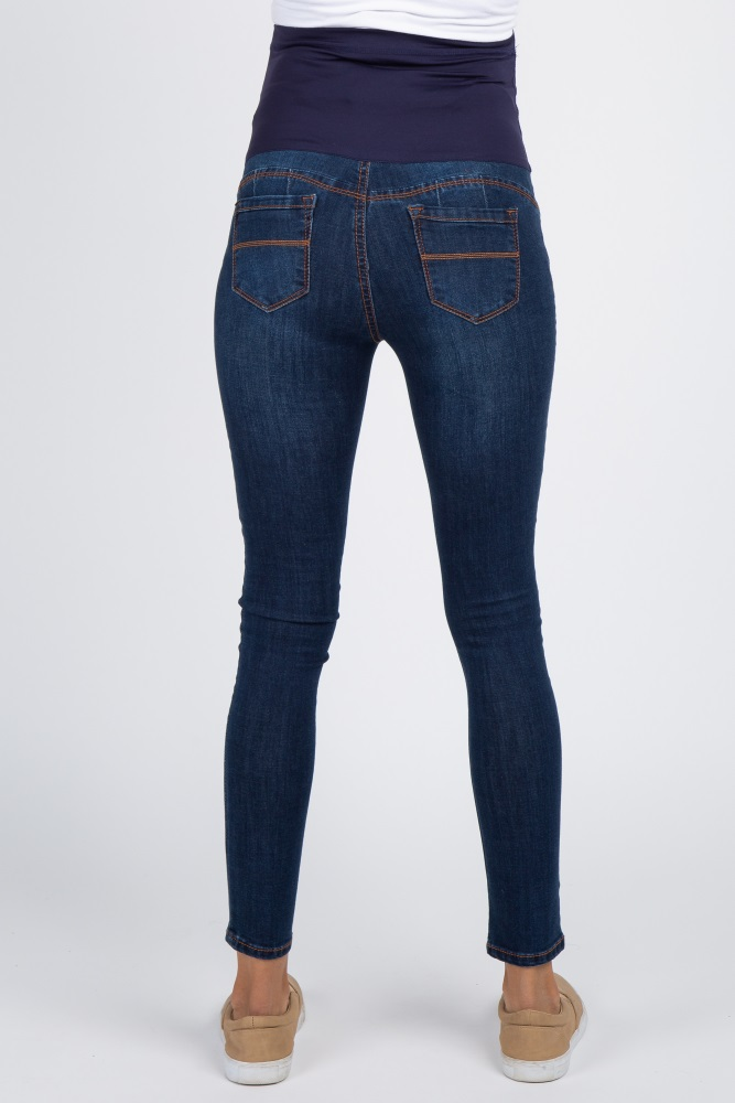 b2fafe1966e Navy Basic Dark Wash Maternity Skinny Jeans